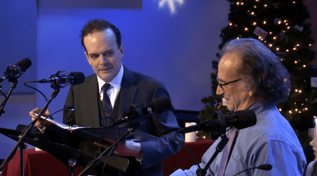 Jefferson Mays as Marley and Mark Linn-Baker as Scrooge in 'A Christmas Carol: A Radio Drama'