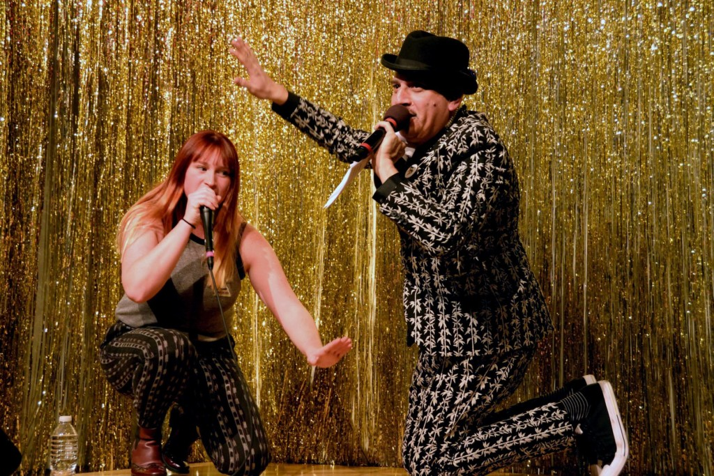 Beatboxer Kaila Mullady and host Julian Fleisher