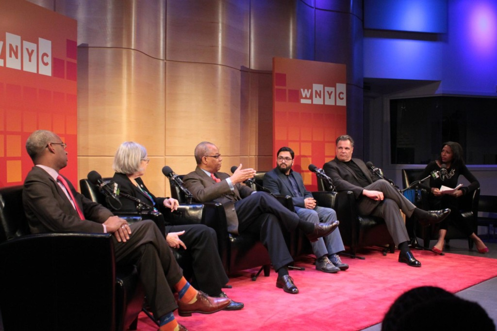 Ron Christie, Sister Simone Campbell, Rev. Dr. Calvin Butts, Imam Sohaib Sultan, Stephen Mansfield and host Keli Goff in The Greene Space