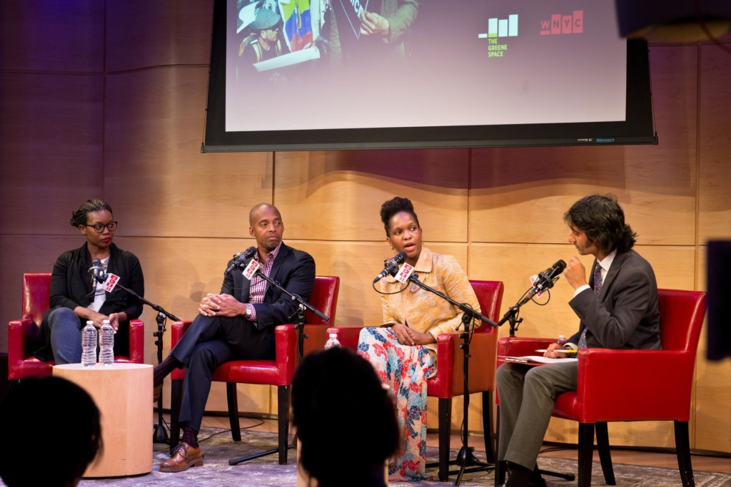 Syreeta McFadden, Dr. Khalil Muhammad and Imani Perry talk with WNYC's Arun Venugopal live in The Greene Space