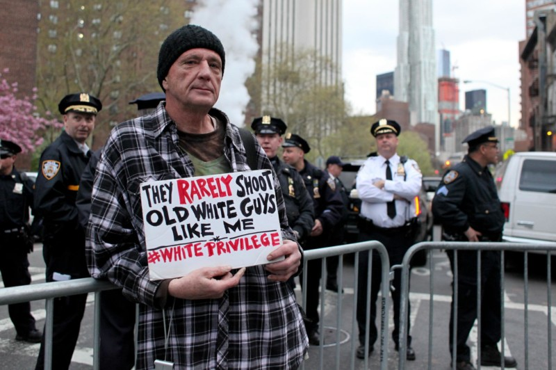 Protester at May Day protests.